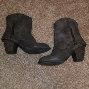Taupe distressed boots
